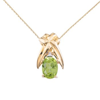 14k Yellow Gold 7x5 mm Peridot and Diamond Oval Shaped Pendant