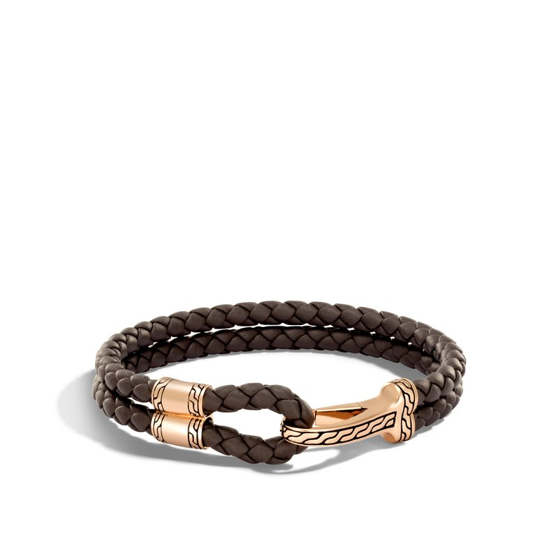 JOHN HARDY Classic Chain Hook Clasp Bracelet in Bronze and Leather