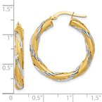 Leslie's Leslie's 14K w/Rhodium Twisted Hoop Earrings