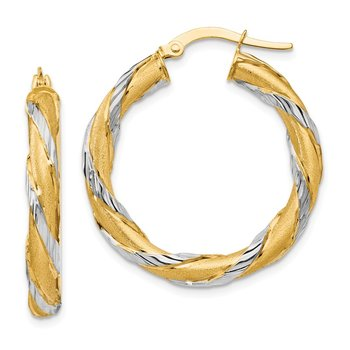 Leslie's 14k w/Rhodium Twisted Hoop Earrings