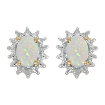 14k Yellow Gold Oval Opal And Diamond Earrings