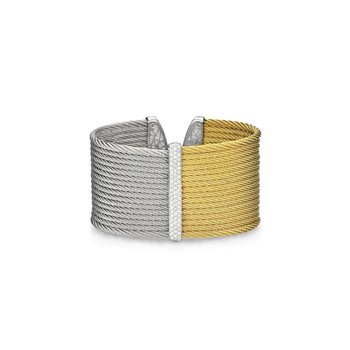 Yellow & Grey Cable Large Colorblock Cuff with 18kt White Gold & Diamonds