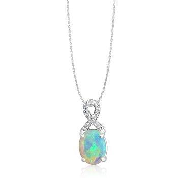 White Gold Opal & Diamond Pendant