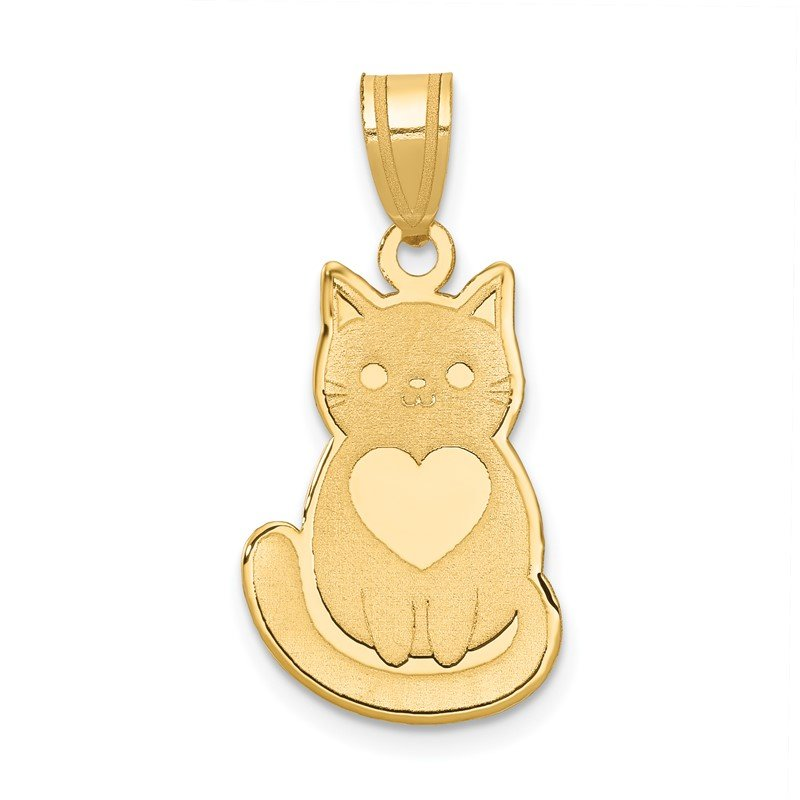 Quality Gold 14k Laser Cut Cat with Heart Charm