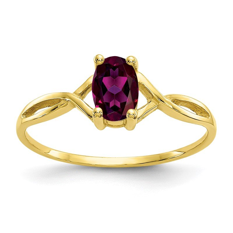 Quality Gold 10k Polished Geniune Rhodolite Garnet Birthstone Ring