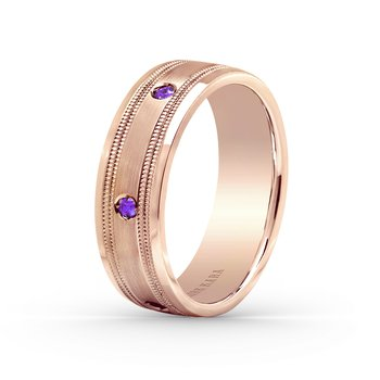 Amethyst Mens Milgrain Wedding Band 7mm