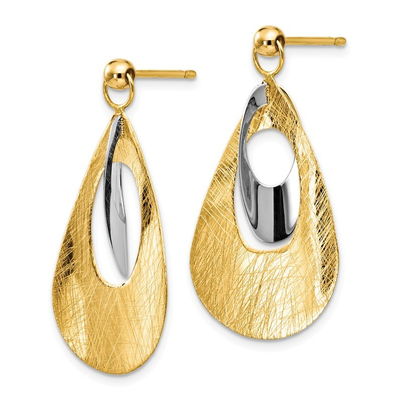 Leslie's Leslie's 14K Two-tone Polished & Scratch Finish Reversible Post Earrings