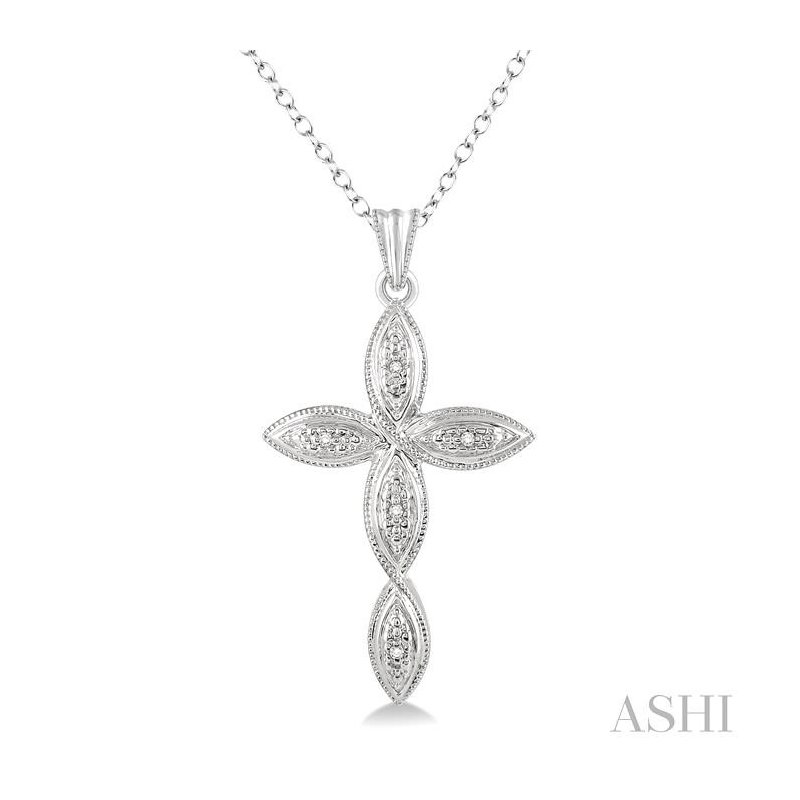 ASHI silver infinity cross diamond pendant