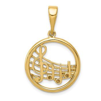 14k Gold Polished Musical Notes Pendant
