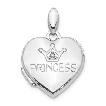14K White Gold Diamond 16mm Princess Locket Pendant