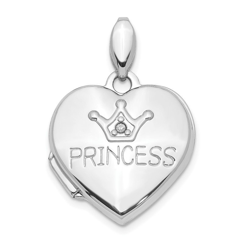 Quality Gold 14K White Gold Diamond 16mm Princess Locket Pendant