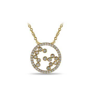 10K YG and diamond Round shape necklace with jump ring in split prong and bezel setting
