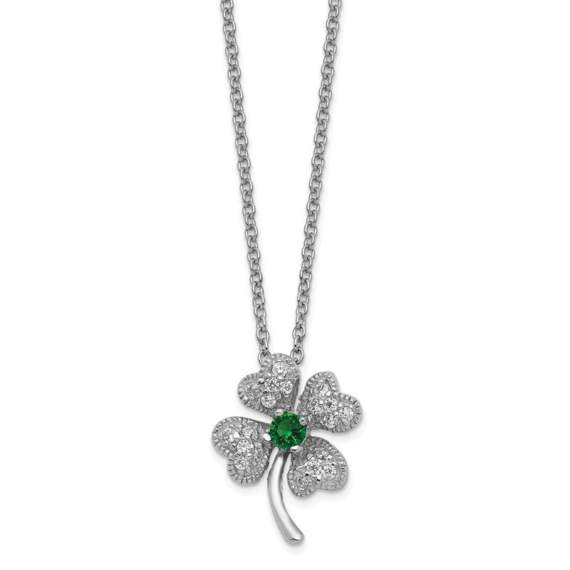 Cheryl M Cheryl M SS Childs Glass Simulated Emerald & CZ 4-leaf Clover 15 Necklace