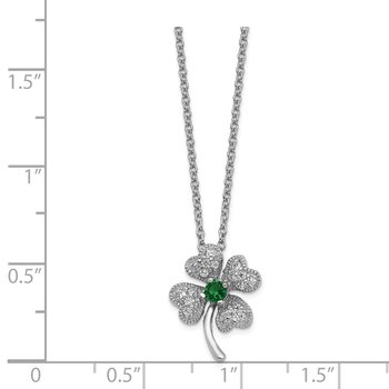 Cheryl M SS Childs Glass Simulated Emerald & CZ 4-leaf Clover 15 Necklace
