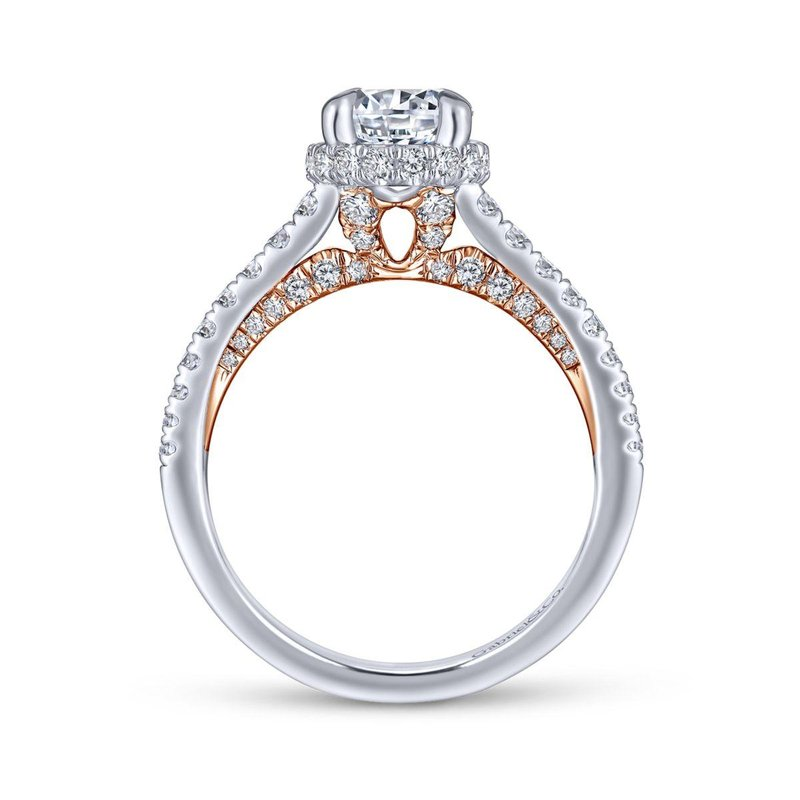 Gabriel Bridal 14K White-Rose Gold Hidden Halo Round Diamond Engagement Ring