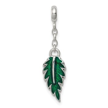 Sterling Silver Green Enameled Leaf 1/2in Dangle Enhancer