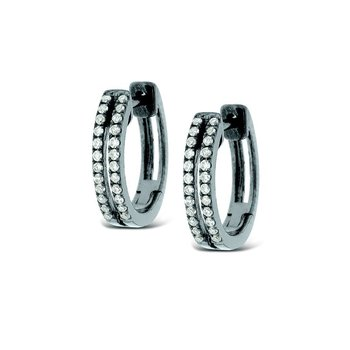 Diamond Double Row Mini Hoop Earrings in 14k White Gold with 48 Diamonds weighing .15ct tw.