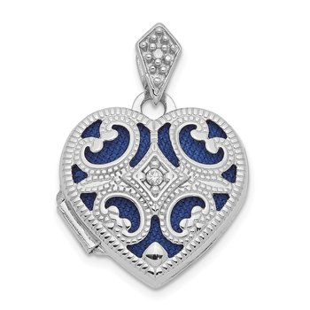 14k White Gold 15mm Diamond Heart Locket