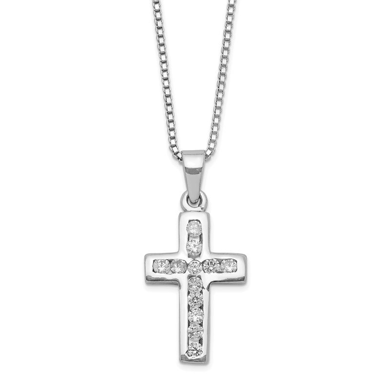 Quality Gold Sterling Silver Rhodium-plated CZ Cross on 16 Box Chain Necklace