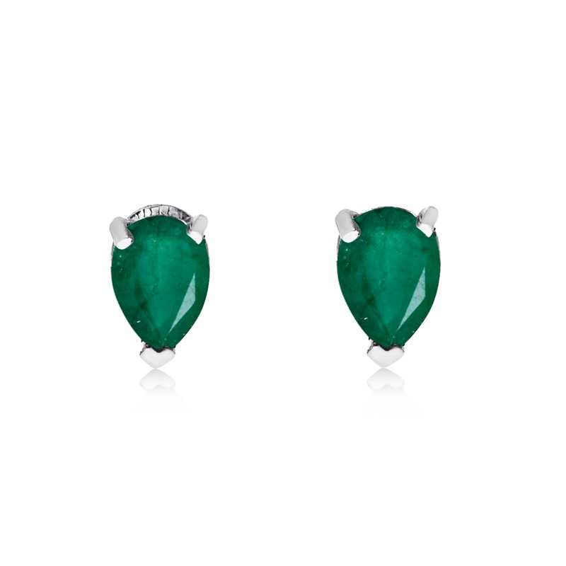 Color Merchants 14k White Gold Emerald Pear-Shaped Earring