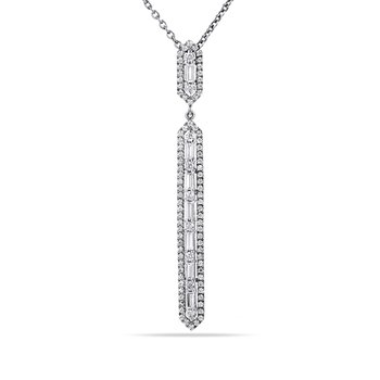 "14K Hexagon shaped long Pendant with 7 Baguette Diamonds 0.29C T.W. & 91 Round Diamonds 0.48C T.W. 18"" Chain"