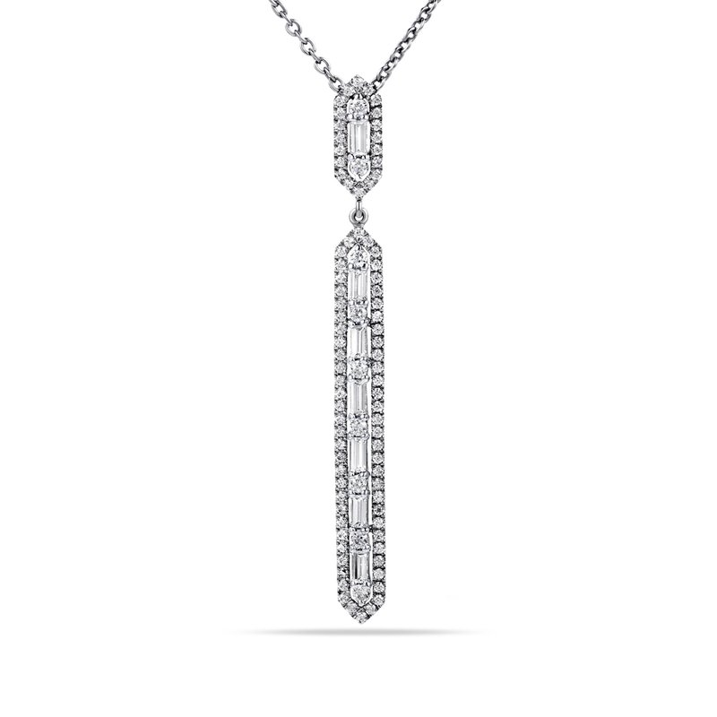 "Shula NY 14K Hexagon shaped long Pendant with 7 Baguette Diamonds 0.29C T.W. & 91 Round Diamonds 0.48C T.W. 18"" Chain"