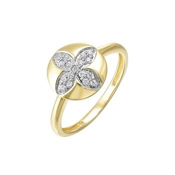 Diamond Medallion Flower Stackable Ring in Yellow Gold (1/7ctw)