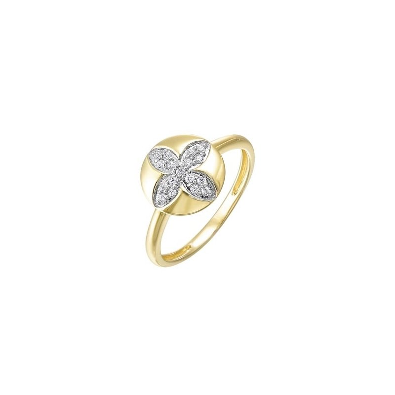 Gems One Diamond Medallion Flower Stackable Ring in Yellow Gold (1/7ctw)
