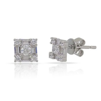 14K square shape Diamond Earrings