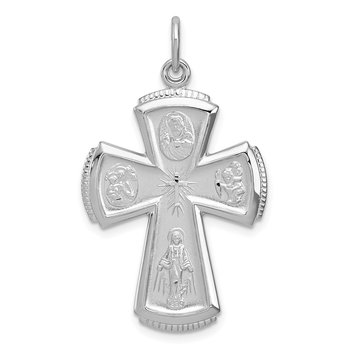 Sterling Silver Rhodium-plated Satin Cross Pendant