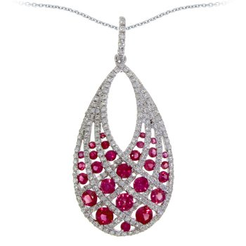 14k White Gold Ruby and Diamond Drop Pendant