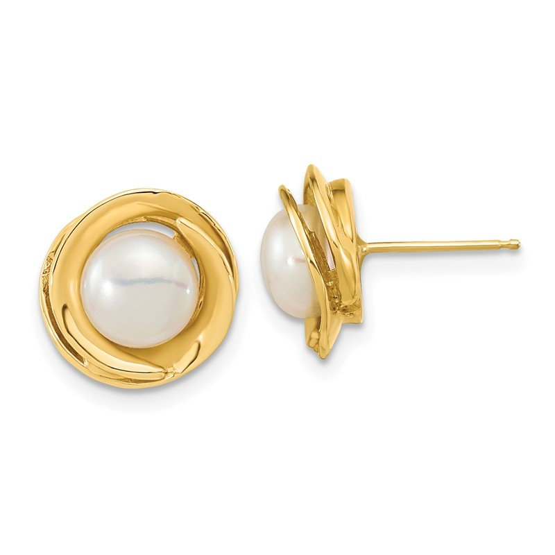 Quality Gold 14k 6-7mm White Button Freshwater Cultured Pearl Post Earrings