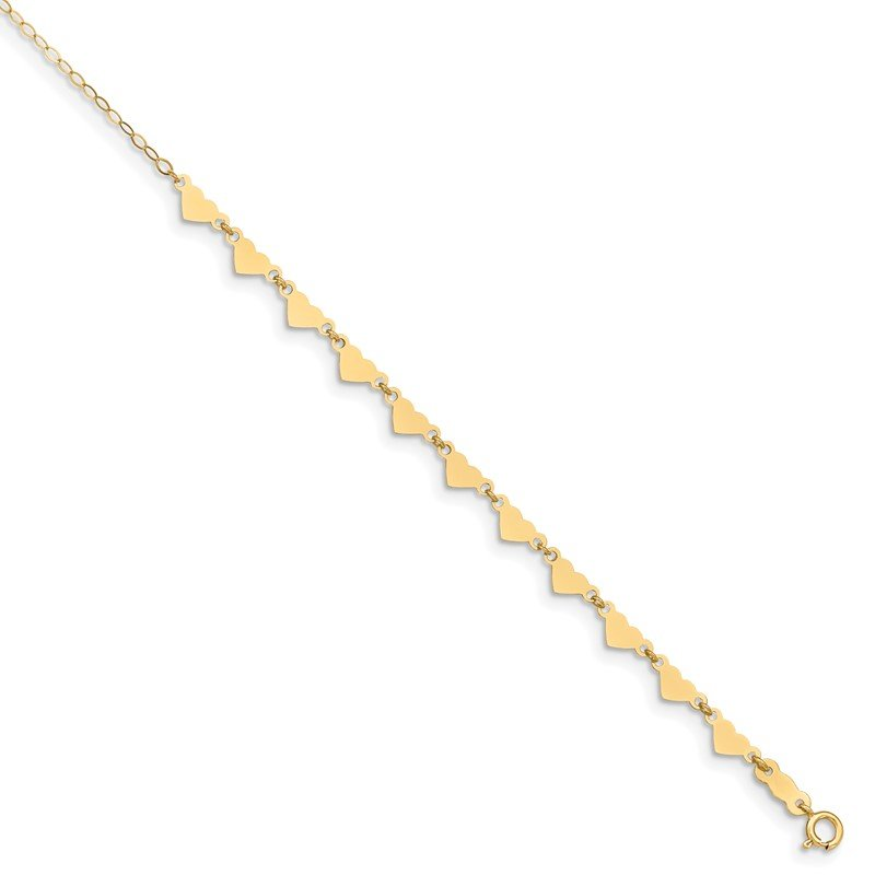 14K Oval Link Chain with Hearts 9in Plus 1in Ext Anklet