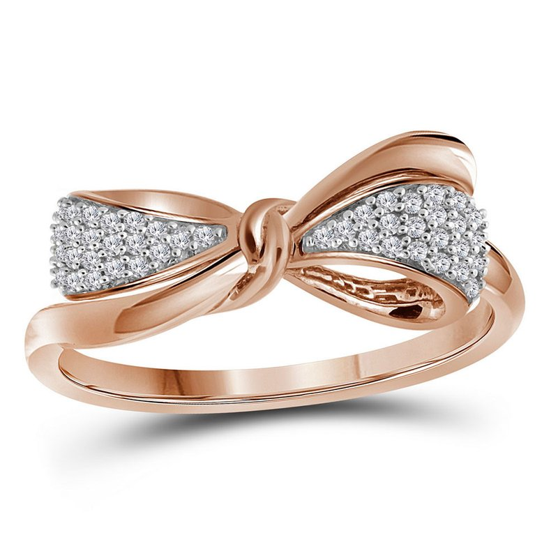 Gold-N-Diamonds, Inc. (Atlanta) 10kt Rose Gold Womens Round Diamond Ribbon Bow Knot Band Ring 1/8 Cttw
