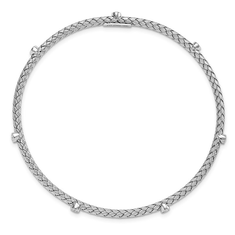 Leslie's Leslie's Sterling Silver CZ Polished Textured Bangle