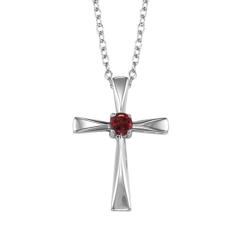 Mixables Silver Garnet Cross Pendant