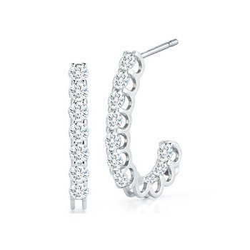 18Kt Gold Inside Outside Diamond J Hoop Earrings