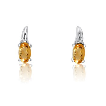 14k White Gold Citrine and Diamond Earrings