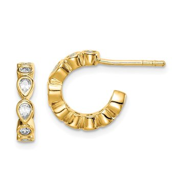 Sterling Silver Gold-tone CZ Post Hoop Earrings