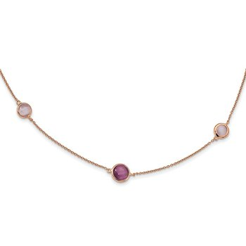 Sterling Silver Rose-tone Purple Created Cat's Eye Necklace