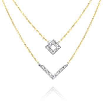 14k Gold and Diamond Geometric Necklace