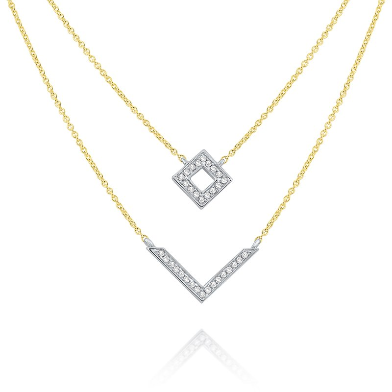 MAZZARESE Fashion 14k Gold and Diamond Geometric Necklace