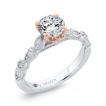 14K Two-Tone Gold Round Diamond Engagement Ring (Semi-Mount)
