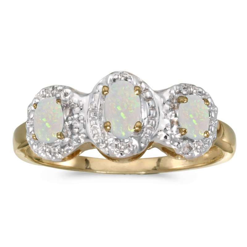 Color Merchants 14k Yellow Gold Oval Opal And Diamond Three Stone Ring