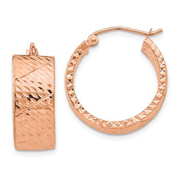 14k Rose Gold Diamond Cut Hoop Earrings