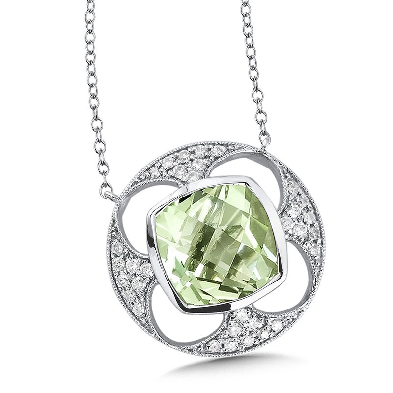 Green Amethyst & Diamond Pendant in 14K White Gold