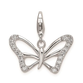 SS RH CZ Polished Butterfly w/Lobster Clasp Charm