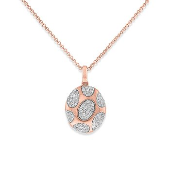 Diamond Fashion Necklace in 14k Rose Gold with 105Diamonds weighing .34ct tw.
