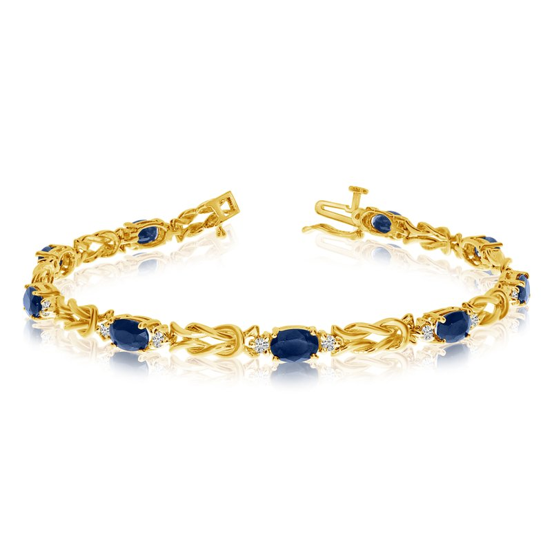 Color Merchants 14k Yellow Gold Natural Sapphire And Diamond Tennis Bracelet
