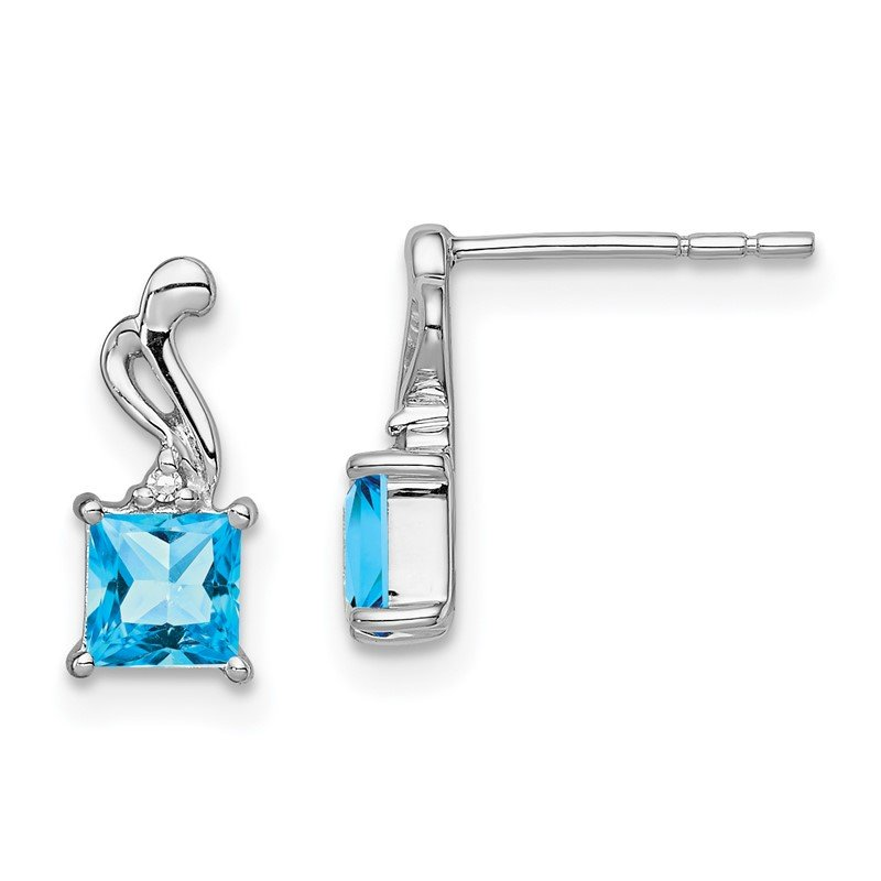 Quality Gold Sterling Silver Rhodium Plated Diamond & Sky Blue Topaz Square Post Earring